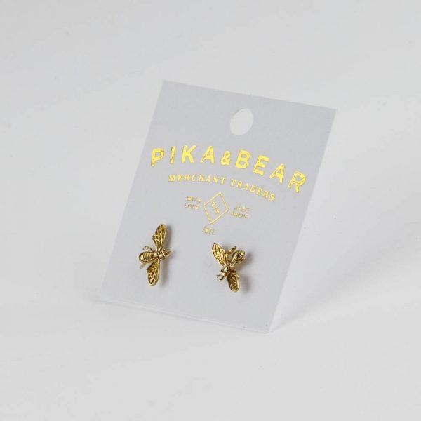pb gold wire bee earrings