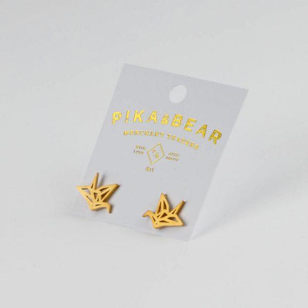 pb paper crane earrings