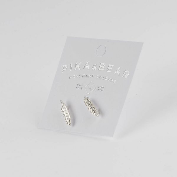 pb silver feather studs