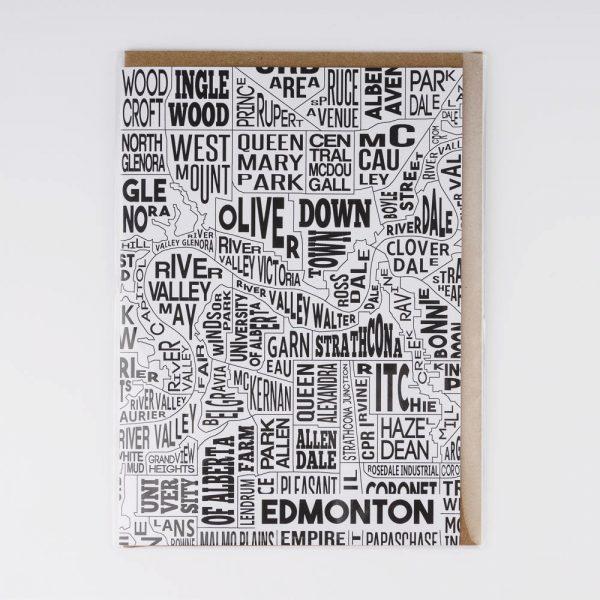 edmonton black and white greeting card