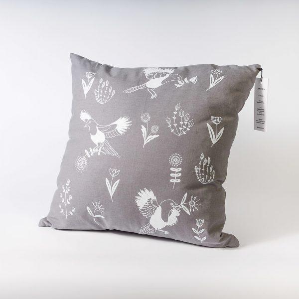 grey birds and blloms pillow