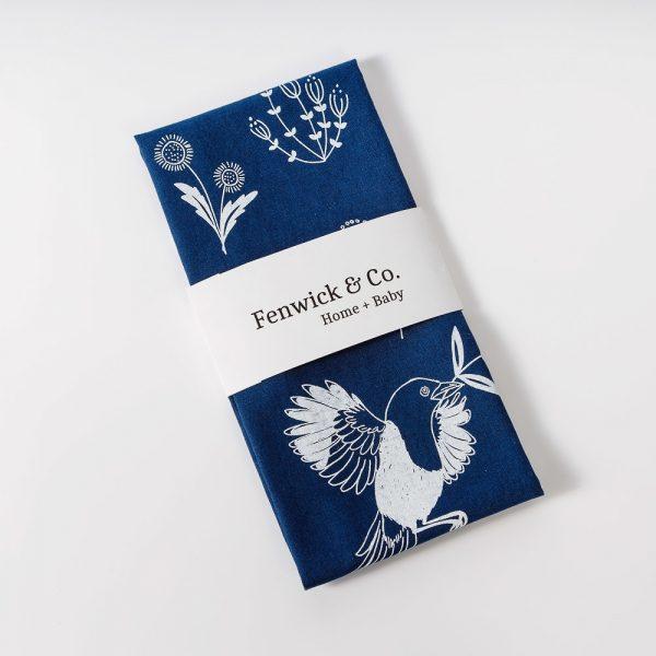 navy birds and blooms tea towel