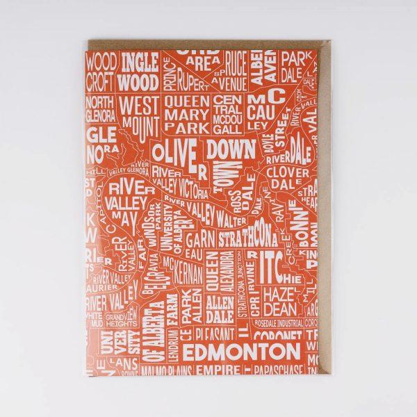orange edmonton neighbourhood greeting card