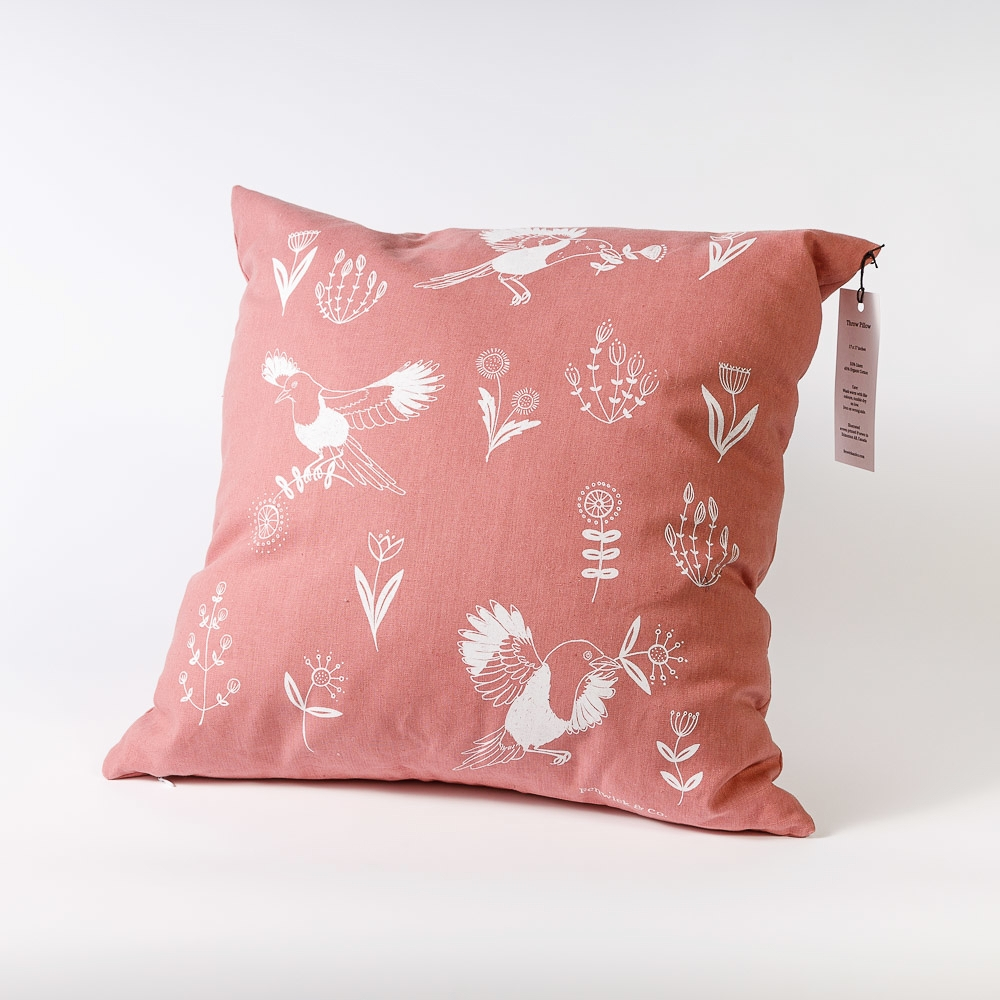 pink birds and blooms pillow