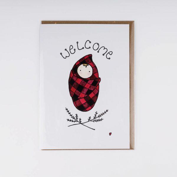 welcome plaid card