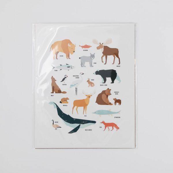 animals of canada print