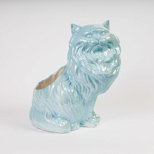 light blue cat planter