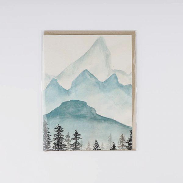 watercolour mountains card
