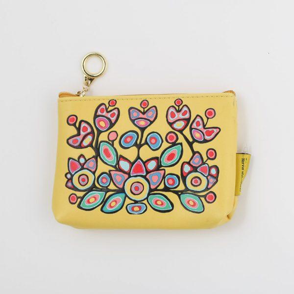 yellow floral change purse
