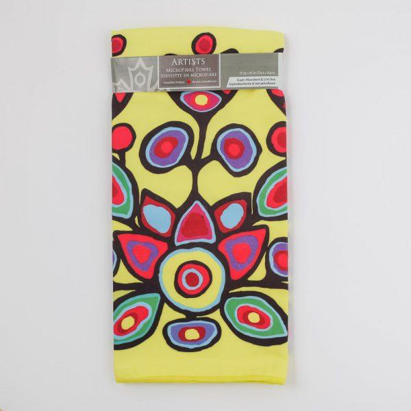 yellow floral tea towel