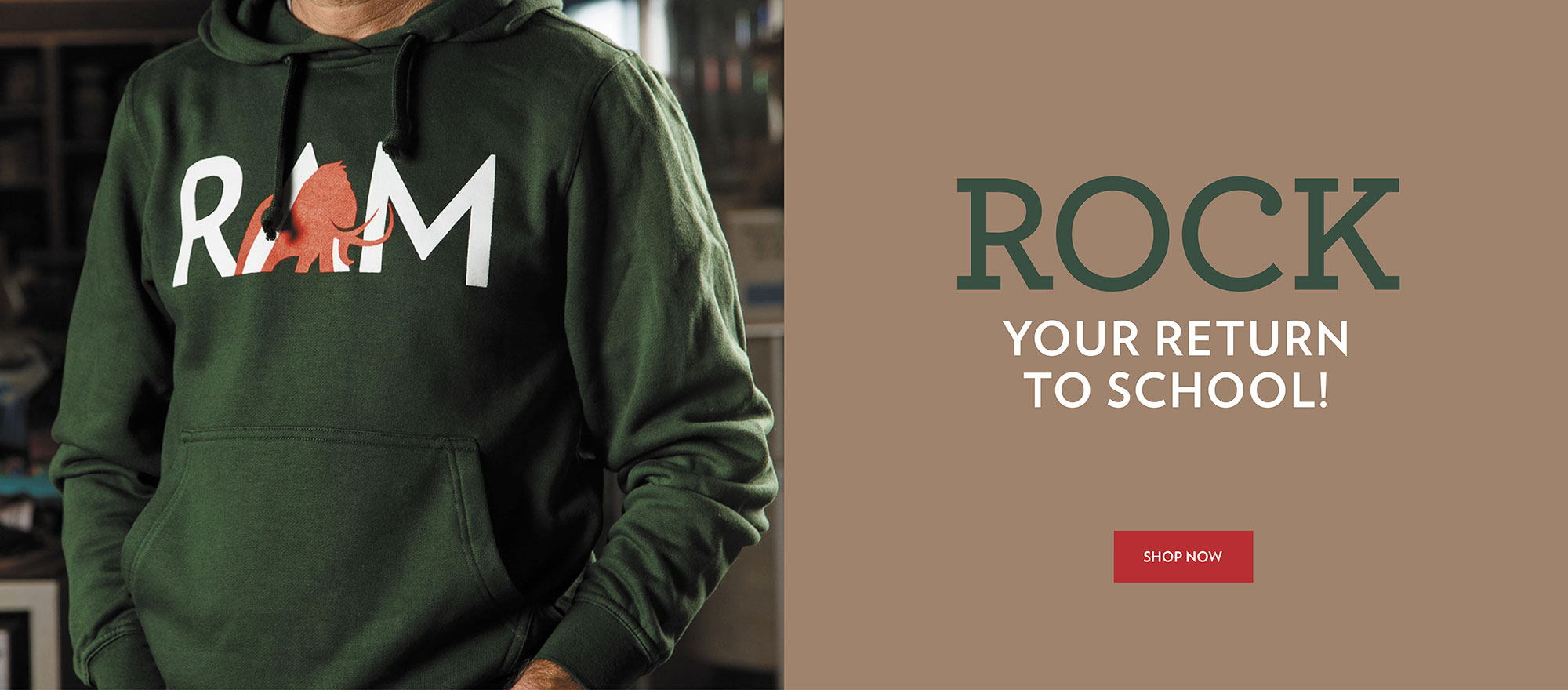 Green hoodie with logo. Rock your return to school.