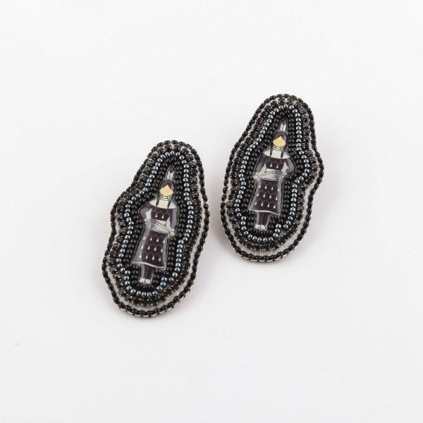 black pow wow dancer earrings