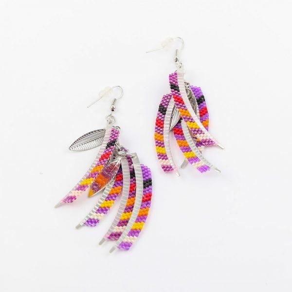 purple dangle leaf earrings