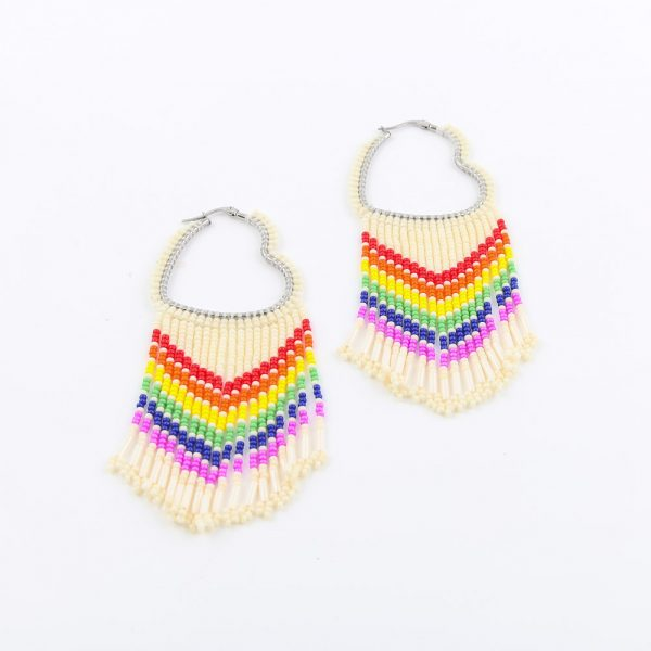 rainbow beaded heart earrings