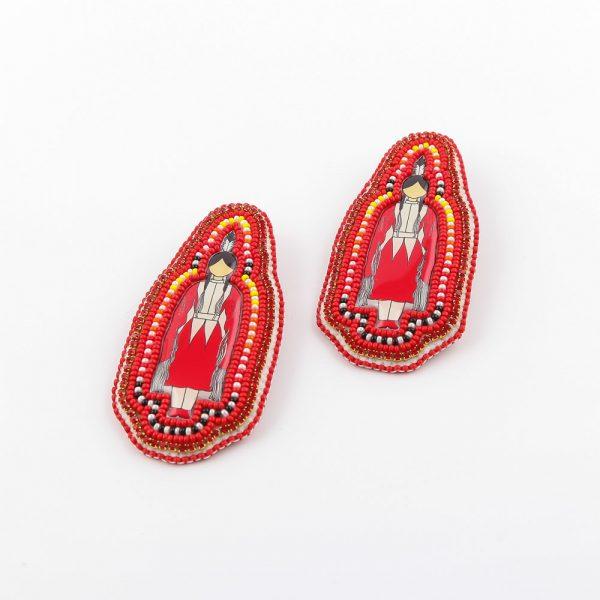 red pow wow dancer earrings